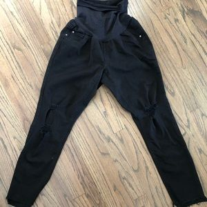 Jessica Simpson black distressed maternity jeans